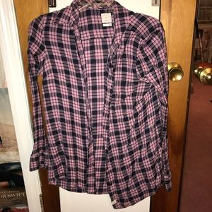 Pink and Black Plaid Button Up
